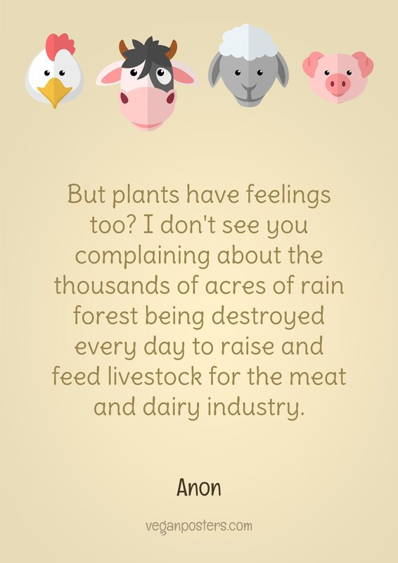 But plants have feelings too? I don't see you complaining about the thousands of acres of rain forest being destroyed every day to raise and feed livestock for the meat and dairy industry.