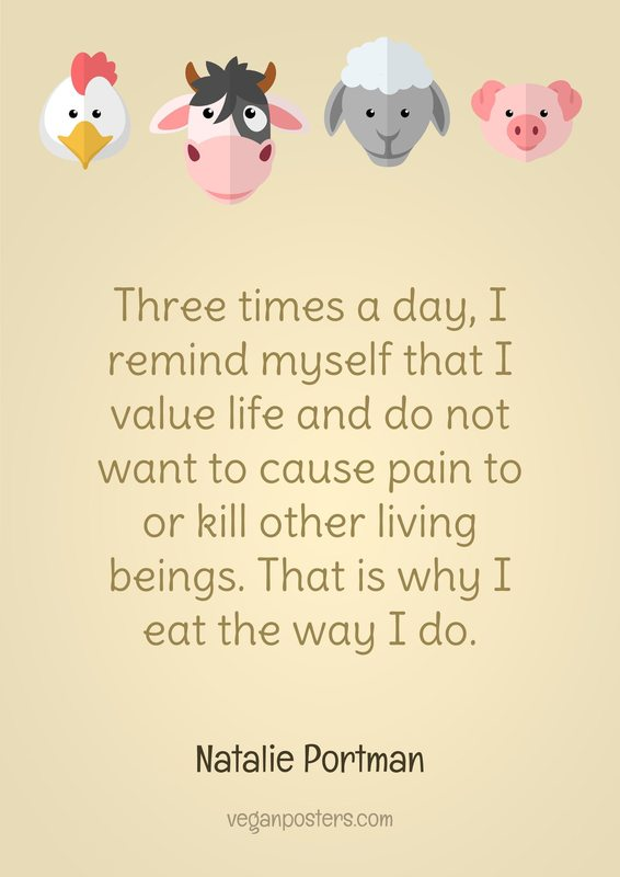 Three times a day, I remind myself that I value life and do not want to cause pain to or kill other living beings. That is why I eat the way I do.