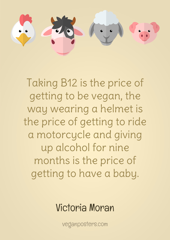 Taking B12 is the price of getting to be vegan, the way wearing a helmet is the price of getting to ride a motorcycle and giving up alcohol for nine months is the price of getting to have a baby.
