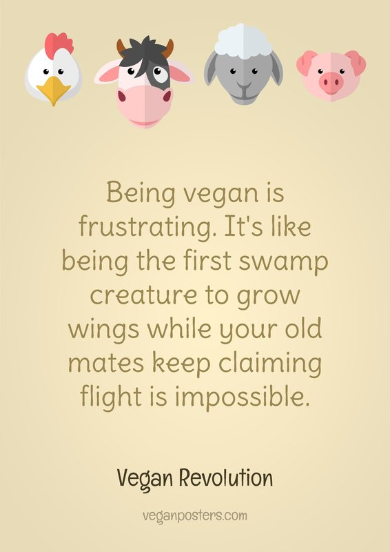 Being vegan is frustrating. It's like being the first swamp creature to grow wings while your old mates keep claiming flight is impossible.