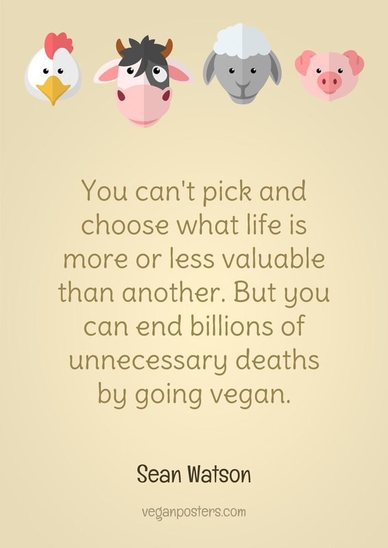 You can't pick and choose what life is more or less valuable than another. But you can end billions of unnecessary deaths by going vegan.