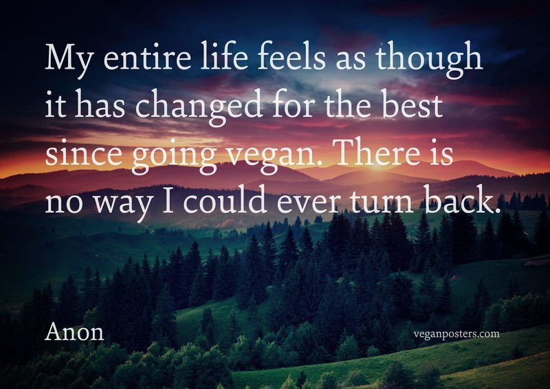 My entire life feels as though it has changed for the best since going vegan. There is no way I could ever turn back.