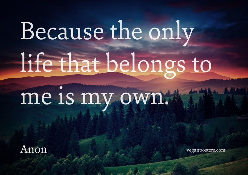 Because the only life that belongs to me is my own.