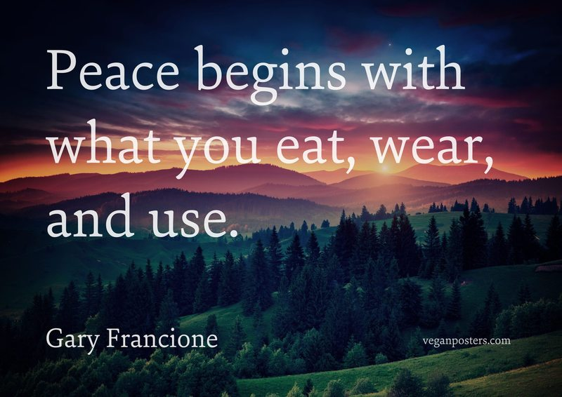 Peace begins with what you eat, wear, and use.