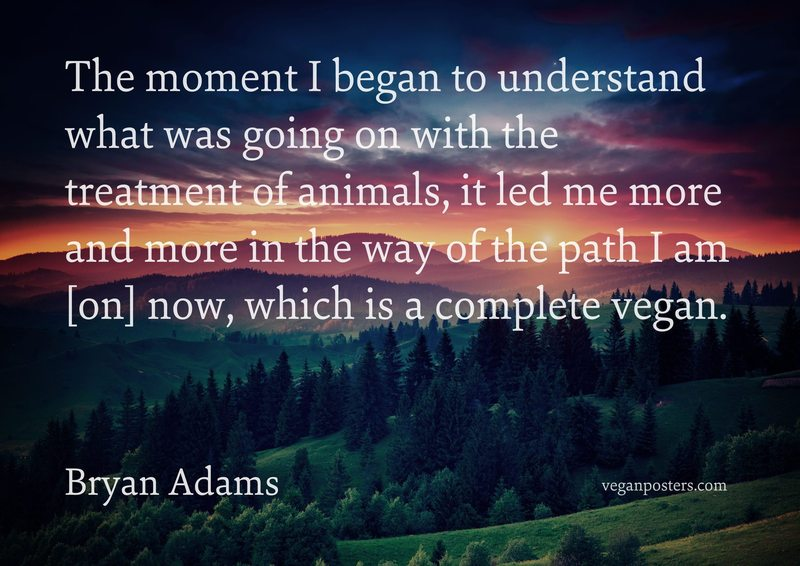 The moment I began to understand what was going on with the treatment of animals, it led me more and more in the way of the path I am [on] now, which is a complete vegan.