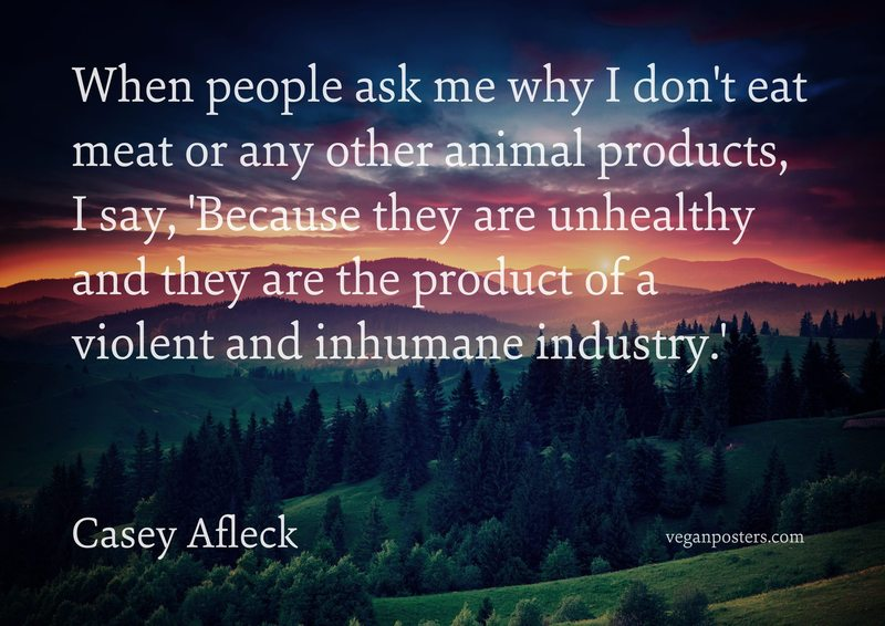 When people ask me why I don't eat meat or any other animal products, I say, 'Because they are unhealthy and they are the product of a violent and inhumane industry.'