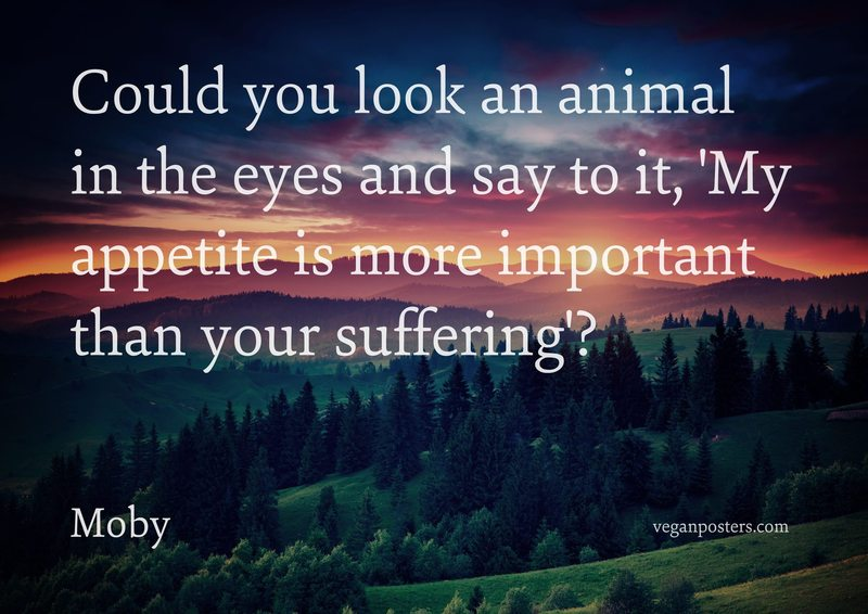 Could you look an animal in the eyes and say to it, 'My appetite is more important than your suffering'?
