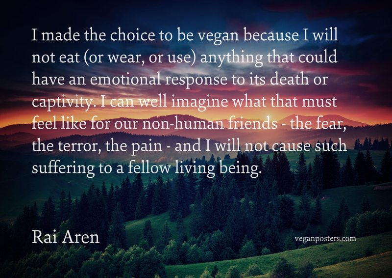 I made the choice to be vegan because I will not eat (or wear, or use) anything that could have an emotional response to its death or captivity. I can well imagine what that must feel like for our non-human friends - the fear, the terror, the pain - and I will not cause such suffering to a fellow living being.