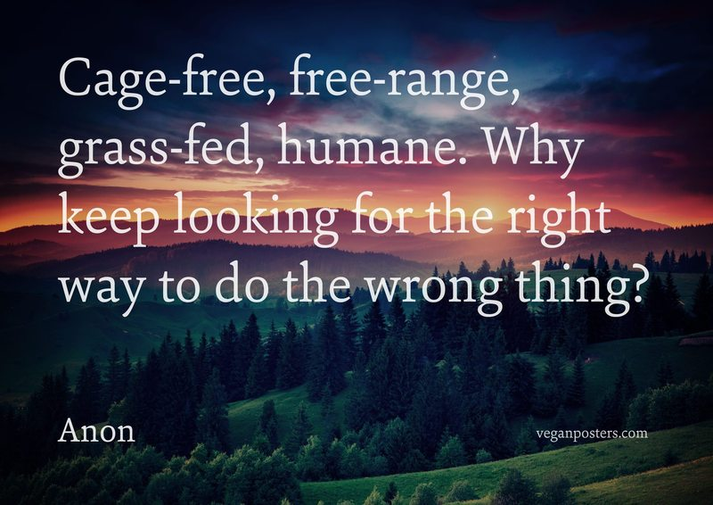 Cage-free, free-range, grass-fed, humane. Why keep looking for the right way to do the wrong thing?