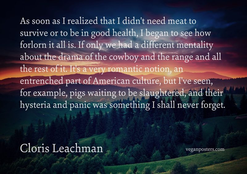 As soon as I realized that I didn't need meat to survive or to be in good health, I began to see how forlorn it all is. If only we had a different mentality about the drama of the cowboy and the range and all the rest of it. It's a very romantic notion, an entrenched part of American culture, but I've seen, for example, pigs waiting to be slaughtered, and their hysteria and panic was something I shall never forget.
