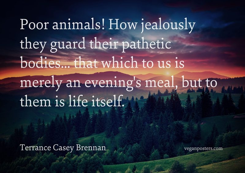 Poor animals! How jealously they guard their pathetic bodies... that which to us is merely an evening's meal, but to them is life itself.