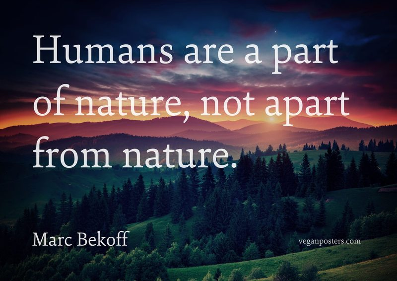 Humans are a part of nature, not apart from nature.