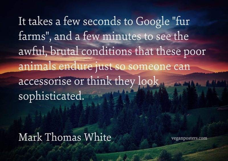 """It takes a few seconds to Google """"fur farms"""", and a few minutes to see the awful, brutal conditions that these poor animals endure just so someone can accessorise or think they look sophisticated."""