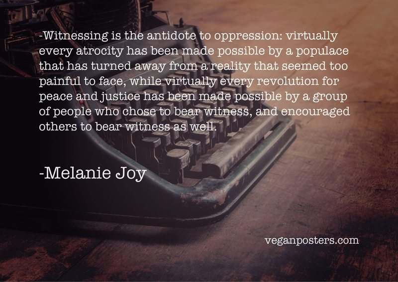 Witnessing is the antidote to oppression: virtually every atrocity has been made possible by a populace that has turned away from a reality that seemed too painful to face, while virtually every revolution for peace and justice has been made possible by a group of people who chose to bear witness, and encouraged others to bear witness as well.