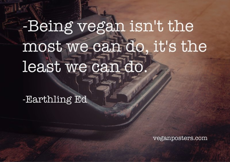 Being vegan isn't the most we can do, it's the least we can do.
