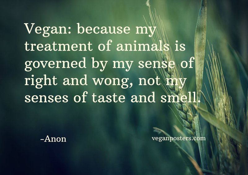 Vegan: because my treatment of animals is governed by my sense of right and wong, not my senses of taste and smell.