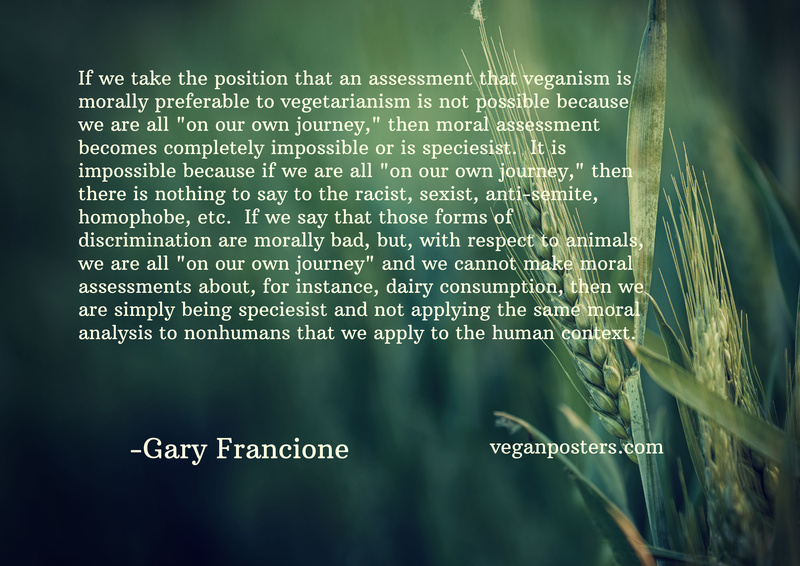 "If we take the position that an assessment that veganism is morally preferable to vegetarianism is not possible because we are all ""on our own journey,"" then moral assessment becomes completely impossible or is speciesist.  It is impossible because if we are all ""on our own journey,"" then there is nothing to say to the racist, sexist, anti-semite, homophobe, etc.  If we say that those forms of discrimination are morally bad, but, with respect to animals, we are all ""on our own journey"" and we cannot make moral assessments about, for instance, dairy consumption, then we are simply being speciesist and not applying the same moral analysis to nonhumans that we apply to the human context."
