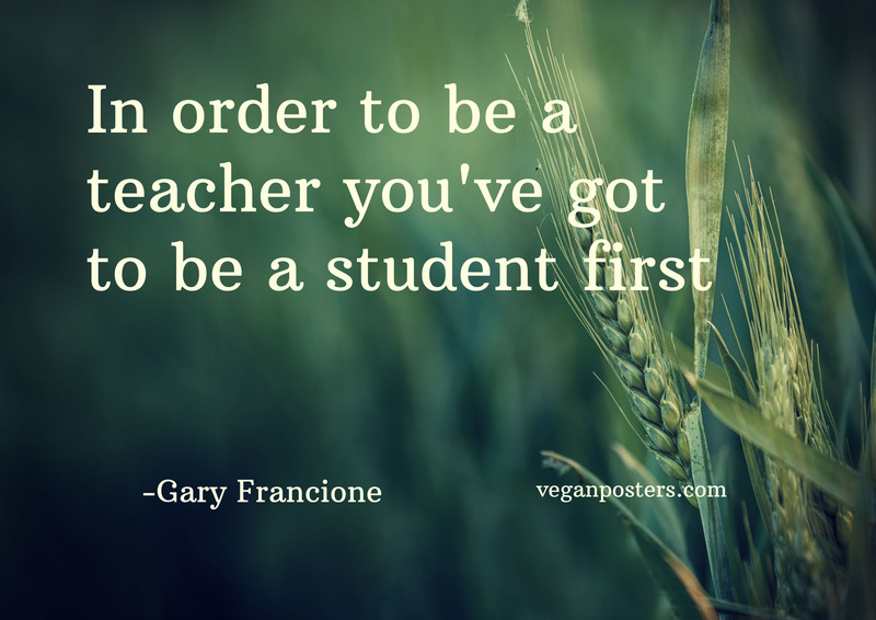 In order to be a teacher you've got to be a student first