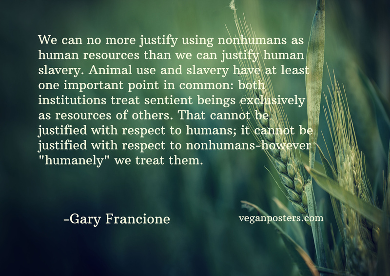 "We can no more justify using nonhumans as human resources than we can justify human slavery. Animal use and slavery have at least one important point in common: both institutions treat sentient beings exclusively as resources of others. That cannot be justified with respect to humans; it cannot be justified with respect to nonhumans—however ""humanely"" we treat them."