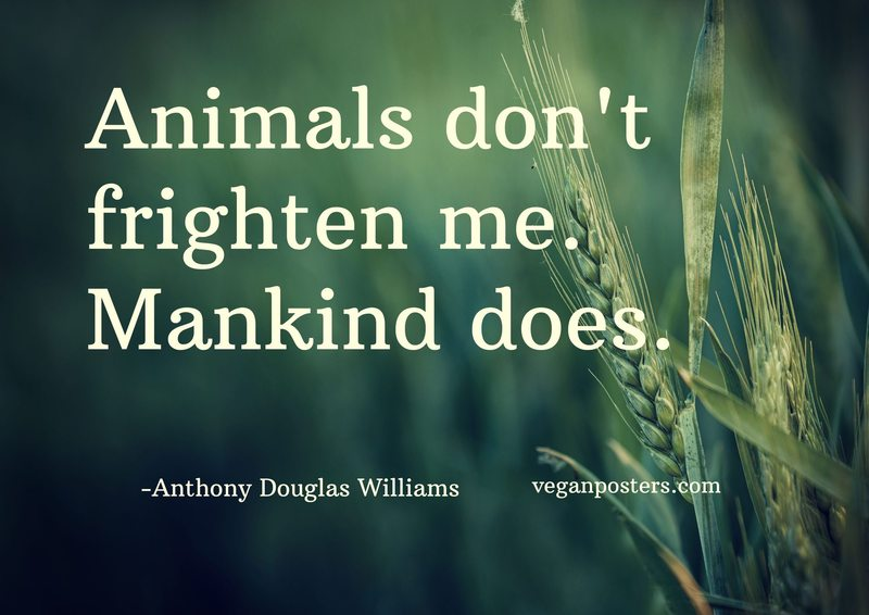 Animals don't frighten me. Mankind does.