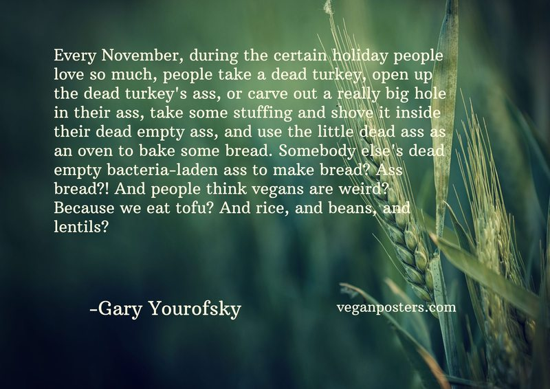 Every November, during the certain holiday people love so much, people take a dead turkey, open up the dead turkey's ass, or carve out a really big hole in their ass, take some stuffing and shove it inside their dead empty ass, and use the little dead ass as an oven to bake some bread. Somebody else's dead empty bacteria-laden ass to make bread? Ass bread?! And people think vegans are weird? Because we eat tofu? And rice, and beans, and lentils?
