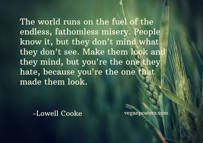 The world runs on the fuel of the endless, fathomless misery. People know it, but they don't mind what they don't see. Make them look and they mind, but you're the one they hate, because you're the one that made them look.