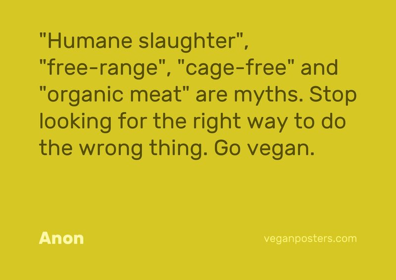 """Humane slaughter"", ""free-range"", ""cage-free"" and ""organic meat"" are myths. Stop looking for the right way to do the wrong thing. Go vegan."