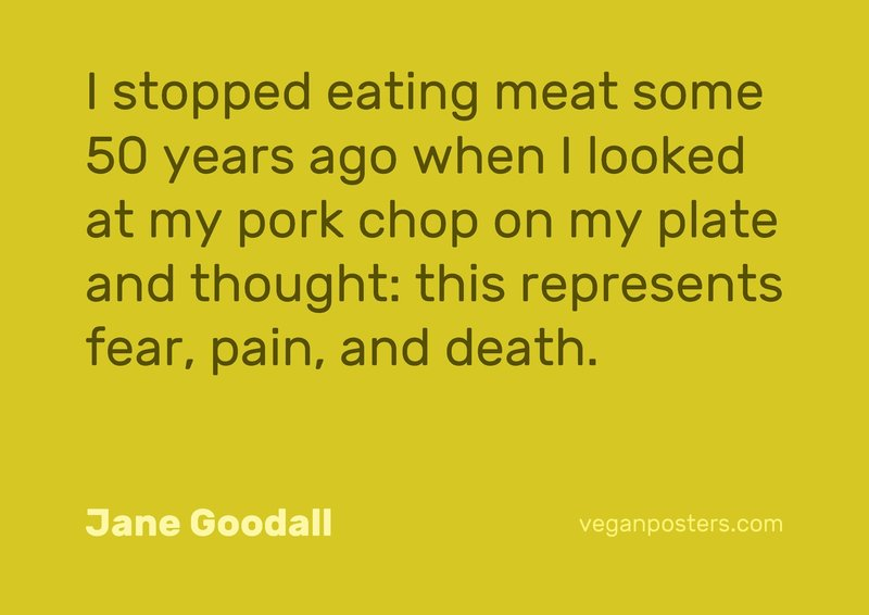 I stopped eating meat some 50 years ago when I looked at my pork chop on my plate and thought: this represents fear, pain, and death.