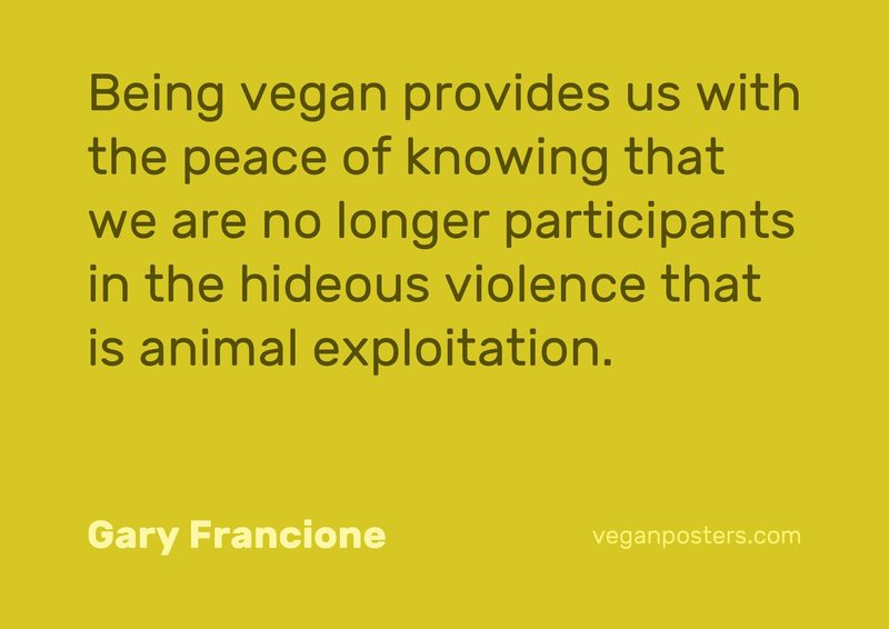 Being vegan provides us with the peace of knowing that we are no longer participants in the hideous violence that is animal exploitation.