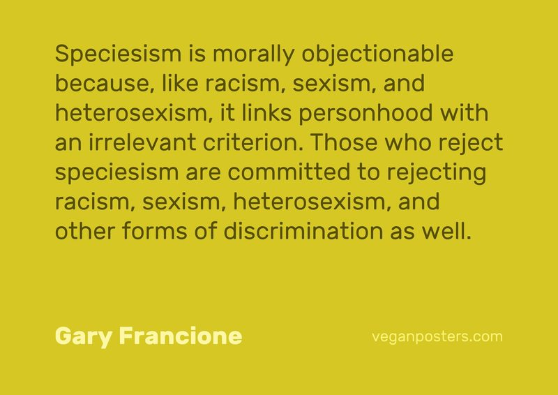 Speciesism is morally objectionable because, like racism, sexism, and heterosexism, it links personhood with an irrelevant criterion. Those who reject speciesism are committed to rejecting racism, sexism, heterosexism, and other forms of discrimination as well.