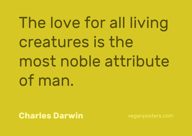 The love for all living creatures is the most noble attribute of man.
