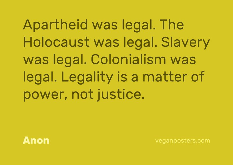 Apartheid was legal. The Holocaust was legal. Slavery was legal. Colonialism was legal. Legality is a matter of power, not justice.