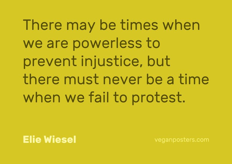 There may be times when we are powerless to prevent injustice, but there must never be a time when we fail to protest.
