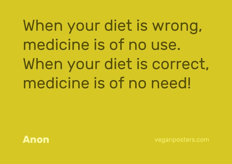 When your diet is wrong, medicine is of no use. When your diet is correct, medicine is of no need!