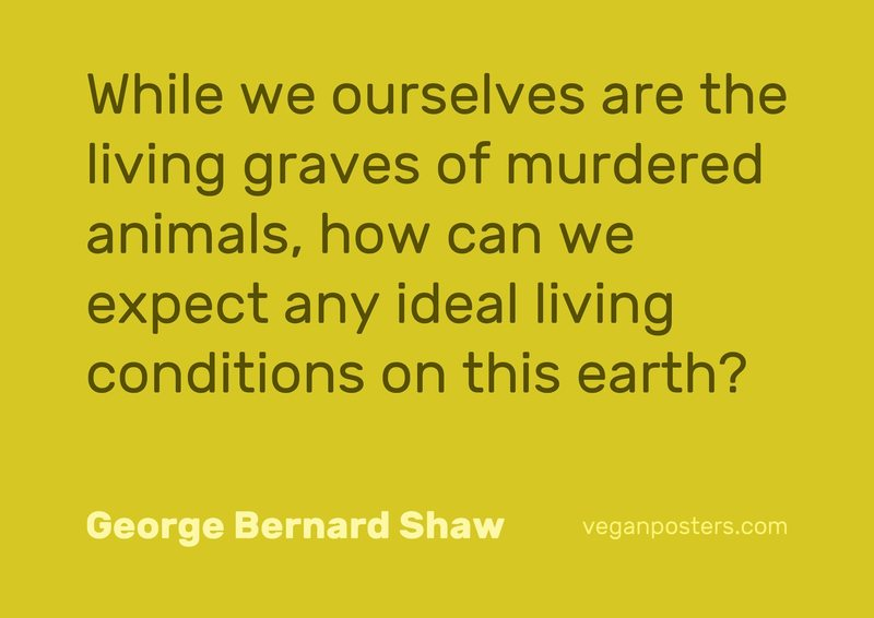 While we ourselves are the living graves of murdered animals, how can we expect any ideal living conditions on this earth?