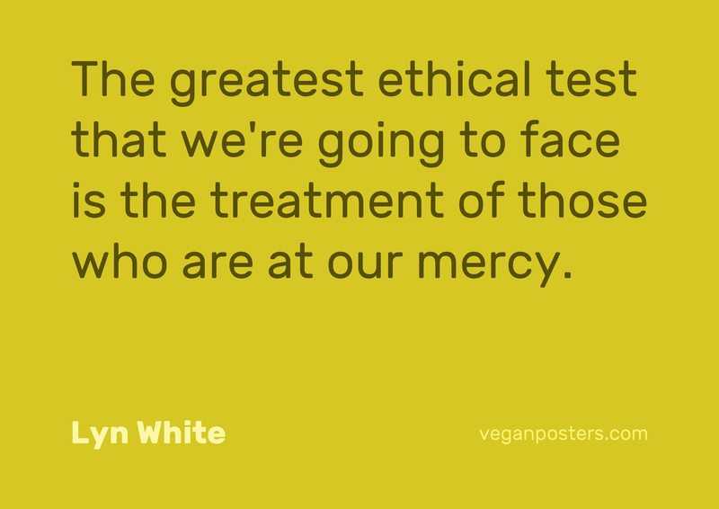 The greatest ethical test that we're going to face is the treatment of those who are at our mercy.