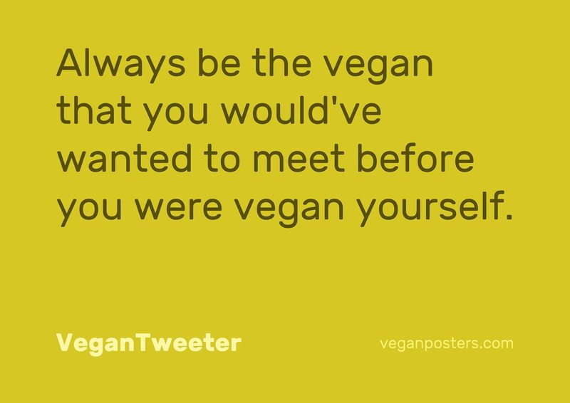 Always be the vegan that you would've wanted to meet before you were vegan yourself.