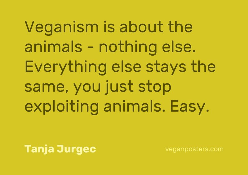 Veganism is about the animals - nothing else. Everything else stays the same, you just stop exploiting animals. Easy.