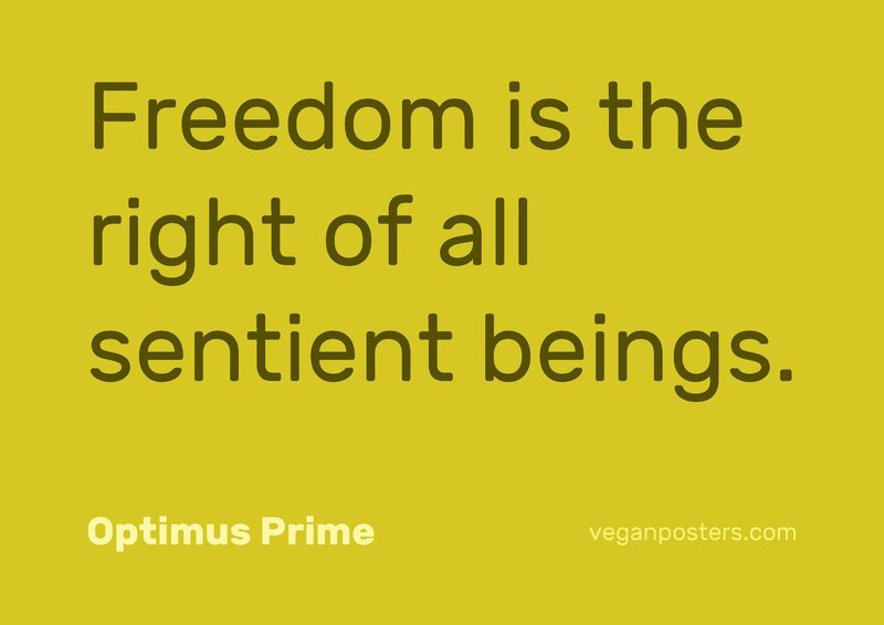 Freedom is the right of all sentient beings.