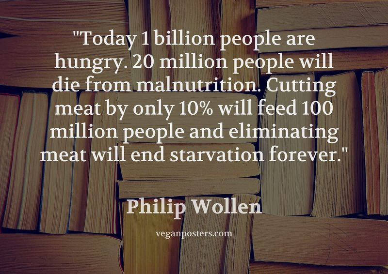 Today 1 billion people are hungry. 20 million people will die from malnutrition. Cutting meat by only 10% will feed 100 million people and eliminating meat will end starvation forever.