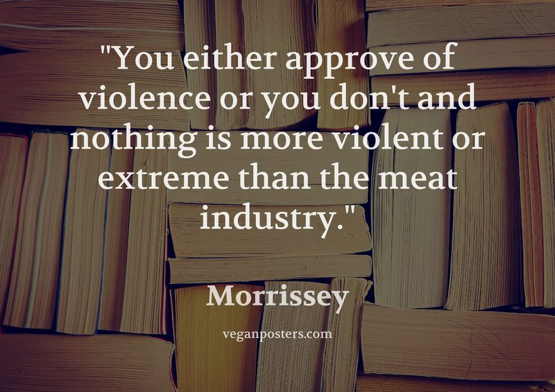 You either approve of violence or you don't and nothing is more violent or extreme than the meat industry.
