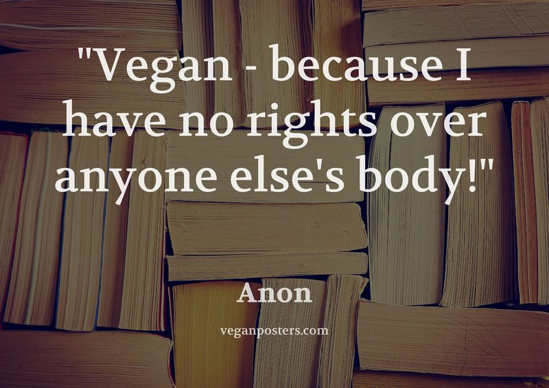 Vegan - because I have no rights over anyone else's body!