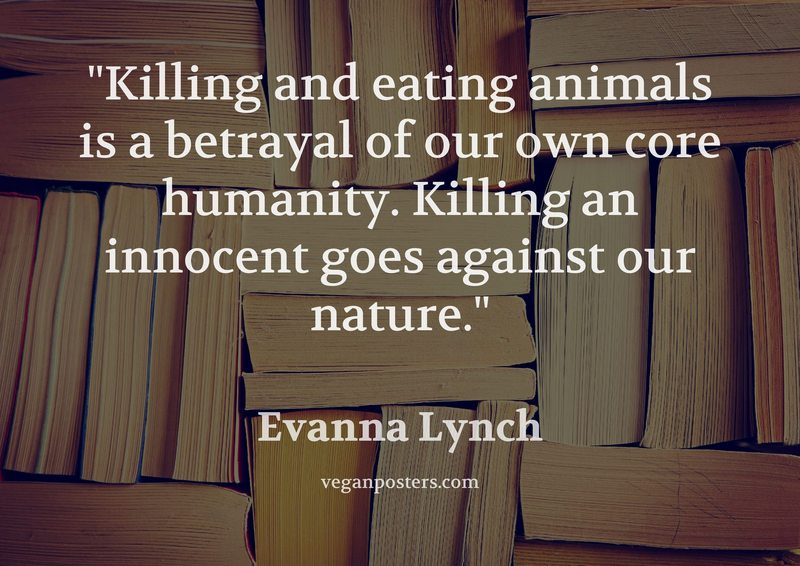 Killing and eating animals is a betrayal of our own core humanity. Killing an innocent goes against our nature.