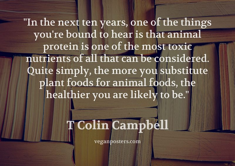 In the next ten years, one of the things you're bound to hear is that animal protein is one of the most toxic nutrients of all that can be considered. Quite simply, the more you substitute plant foods for animal foods, the healthier you are likely to be.