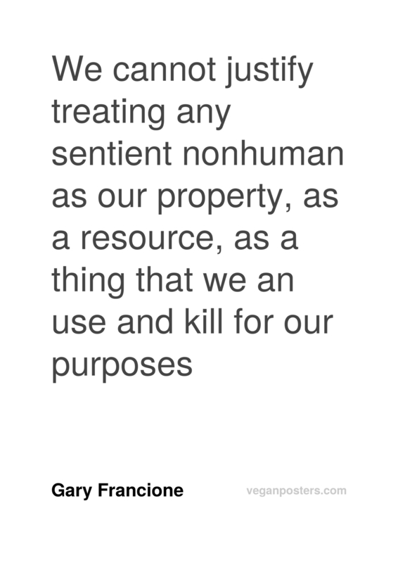 We cannot justify treating any sentient nonhuman as our property, as a resource, as a thing that we an use and kill for our purposes