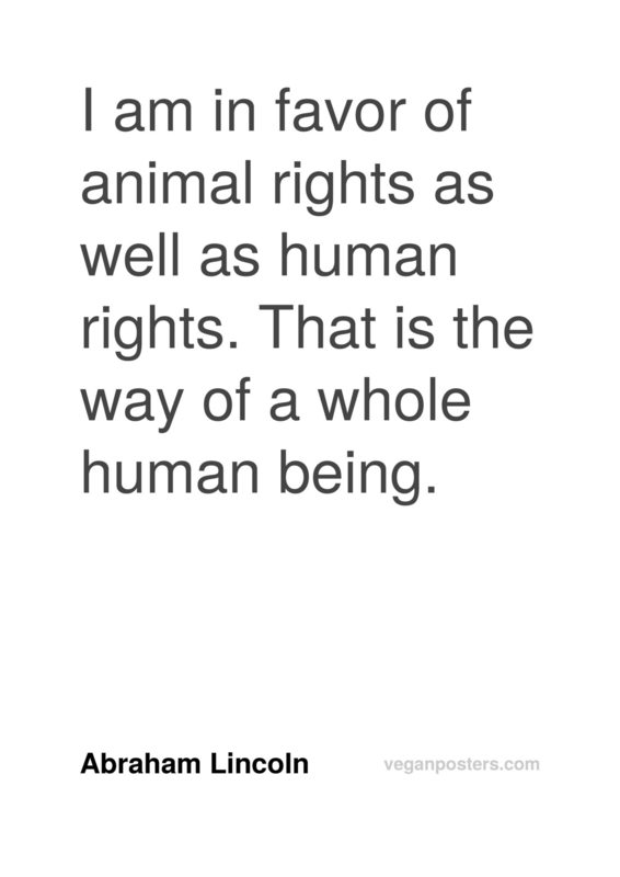 I am in favor of animal rights as well as human rights. That is the way of a whole human being.