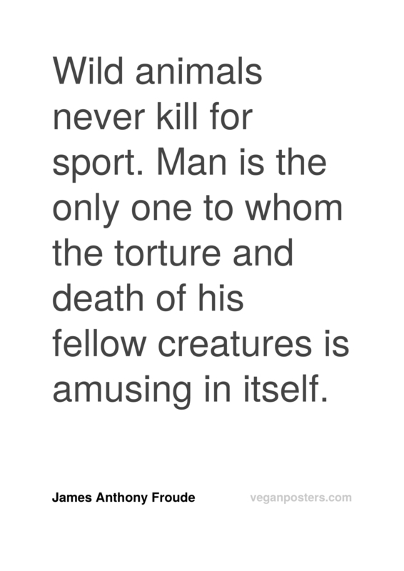 Wild animals never kill for sport. Man is the only one to whom the torture and death of his fellow creatures is amusing in itself.