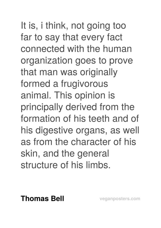 It is, i think, not going too far to say that every fact connected with the human organization goes to prove that man was originally formed a frugivorous animal. This opinion is principally derived from the formation of his teeth and of his digestive organs, as well as from the character of his skin, and the general structure of his limbs.