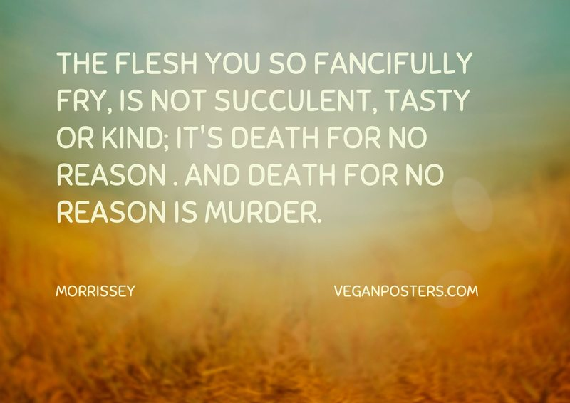 The flesh you so fancifully fry, is not succulent, tasty or kind; It's death for no reason . And death for no reason is murder.
