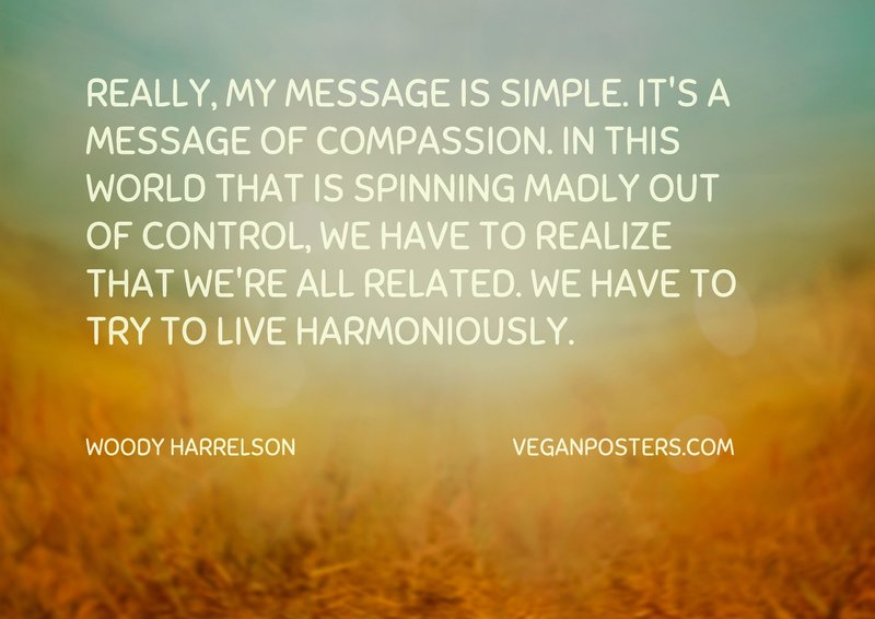 Really, my message is simple. It's a message of compassion. In this world that is spinning madly out of control, we have to realize that we're all related. We have to try to live harmoniously.